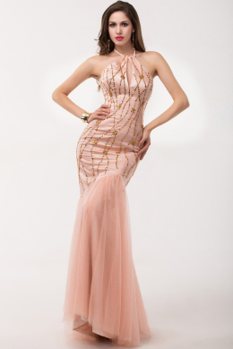 Sheath/Column Halter Floor Length Tulle Evening Dress Beaded