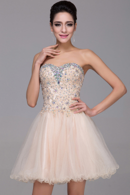 A-Line Strapless Mini Length Tulle Cocktail Dress with Beadings