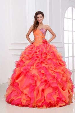 Ball Gown Strapless Floor Length Organza Quinceanera Dress with Beadings