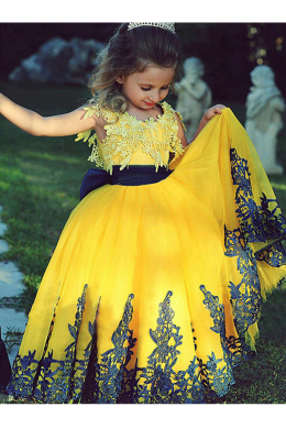 A-Line/Princess Tulle Floor Length Childrens Flower Girl Dress