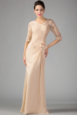 A-Line/Princess V-Neck Floor Length Chiffon Mother of the Bride Dress with Flower