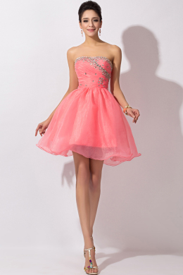 A-Line Strapless Mini Length Organza Cocktail Dresses with Beads