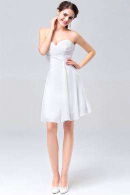 A-Line Strapless Mini Length Chiffon Cocktail Dress with Pleats