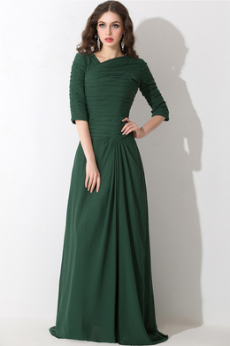 A-Line/Princess Jewel Neck Sweep Train Chiffon Mother of the Bride Suits With Pleats