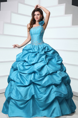 Ball Gown One-Shoulder Floor Length Taffeta Quinceanera Dresses with Beadings