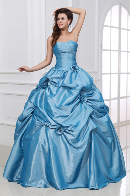 Ball Gown Strapless Floor Length Taffeta Quinceanera Dresses with Flower