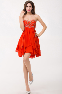 A-Line Strapless Mini Length Chiffon Cocktail Dress with Beadings