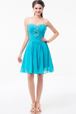 A-Line/Princess Strapless Mini-Length Chiffon Cocktail Dress with Diamonds