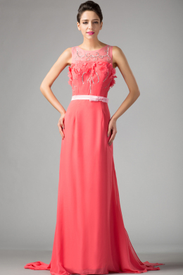 A-Line/Princess Jewel Neck Sweep Train Chiffon Prom Dresses with Beading