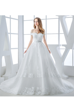 Ball Gown Organza Chapel Train Simple Lace Wedding Gowns