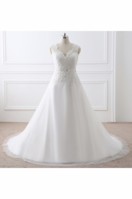 A-Line/Princess Tull Chapel Train Wedding Gown for Bride