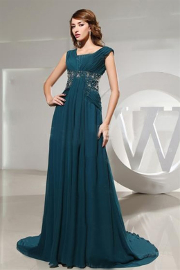 A-Line/Princess Jewel Neck Sweep Train Chiffon Mother of the Bride Dresses with Beads