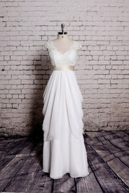 A-Line/Princess V-Neck Floor-Length Chiffon Wedding Reception Dress with Sash