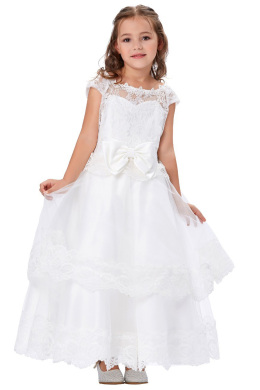 A-Line/Princess Lace Ankle-Length Flower Girl Dress with Bow