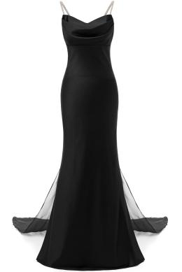 Sunvary Spaghetti Jeweled Strap Black Evening Dress V-neck Black Long Party Dress Elegant Trumpet Evening Gown With Cape