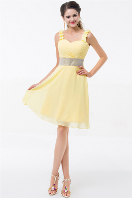 A-Line/Princess Sweetheart Neckline Knee Length Chiffon Cocktail Dress with Flowers