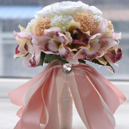 Bridal Bridesmaid Flower Girls Wedding Bouquet Flowers Handmade Real-Touch  Artificial Flowers Rose Wedding Decoration