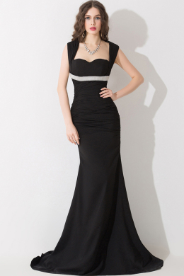 A-Line/Princess Spaghetti Sweep Train Elastic Satin Evening Dresses With Pleats