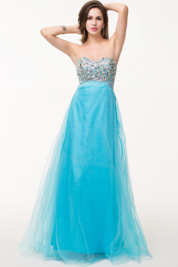 A-Line/Princess Strapless Floor Length Tulle Prom Dress with Beads