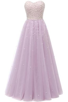 Sunvary Pearls Ball Gown Quinceanera Dresses Sweetheart Floor-Length Sleeveless Candy Color Crystals Prom Dresses