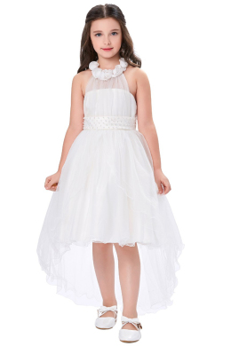 A-Line/Princess Tulle Hi-Lo Little Girl Dresses for Wedding
