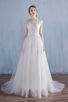 A-Line/Princess Tulle Detachable Train New Wedding Gowns