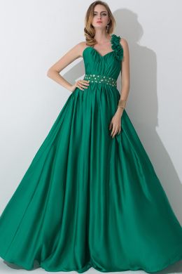 A-Line/Princess One-Shoulder Floor Length Chiffon Bridesmaid Dress with Pleats