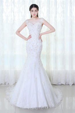 Trumpet/Mermaid Scoop Neck Sweep Train Lace Wedding Dress with Appliques