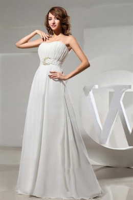 A-Line/Princess Strapless Floor-Length Chiffon Beach Wedding Dress with Beads