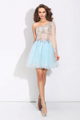 A-Line/Princess Tulle Short Length Guest to Wedding Dresses