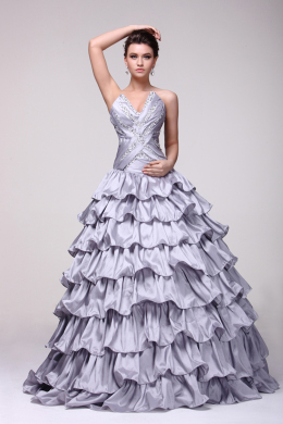 Ball Gown Strapless Floor Length Taffeta Quinceanera Dress with Ruffles