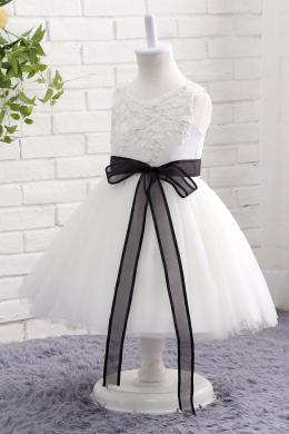 A-Line/Princess Tulle Ankle-Length Flower Dresses for Little Girls