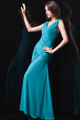 Sheath/Column V-Neck Floor Length Chiffon Prom Dress with Pleats