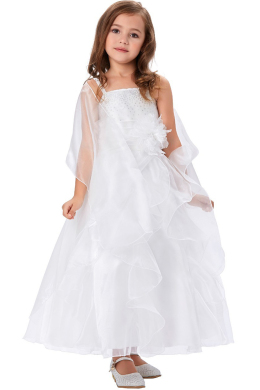 A-Line/Princess Organza Ankle-Length Flower Dresses for Little Girls