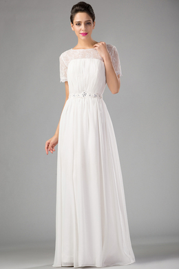 A-Line Jewel Neck Floor Length Chiffon Prom Dress with Appliques