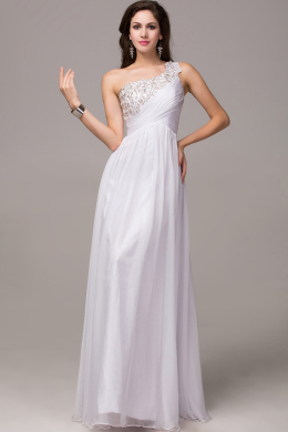 A-Line/Princess One-Shoulder Floor Length Chiffon Prom Dress with Appliques