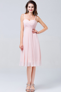 A-Line/Princess Spaghetti Knee Length Chiffon Bridesmaid Dresses with Pleats