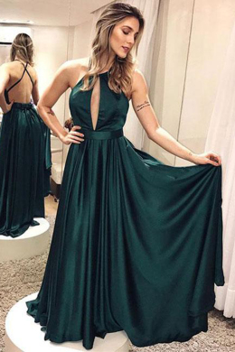 A-Line/Princess Satin Floor-Length Green Wedding Guest Dress