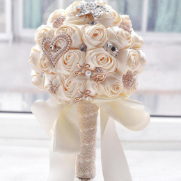 Satin Bride Holding Bouquet Roses Rhinestones Wedding Flowers