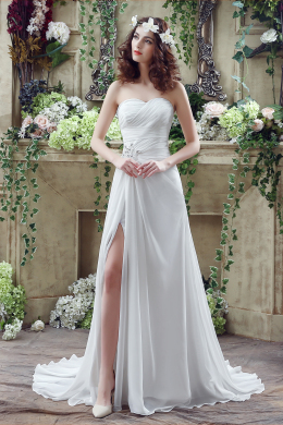 A-Line/Princess Chiffon Sweep Train Bridal Shop Wedding Dresses