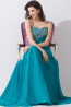 A-Line/Princess Strapless Sweep Train Chiffon Prom Dresses with Beads