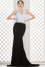 Sheath/Column Halter Sweep Train Jersey Evening Dress with Lace