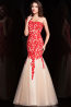 Sheath/Column One-Shoulder Floor Length Tulle Evening Dress with Appliques