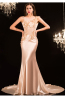 Trumpet/Mermaid Jewel Neck  Sweep Train Elastic Satin Evening Dresses with Applique