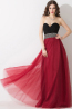 A-Line/Princess Sweetheart Floor Length Tulle Prom Dresses with Beads