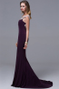 Sheath/Column V-Neck Sweep Train Chiffon Evening Dress with  Embroidery