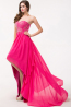 A-Line/Princess Strapless Hi-Lo Chiffon Prom Dress with Beads