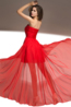 A-Line/Princess Strapless Hi-Lo Chiffon Prom Dress with Pleats