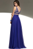A-Line/Sheath V-Neck Sweep Train Chiffon Prom Dresses With Applique