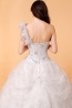 Ball Gown One-Shoulder Court Train Tulle Wedding Dresses with Diamond